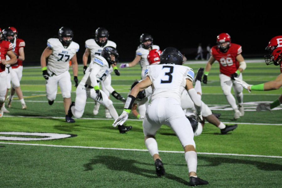 Photo by Payton Coulter: North players being tackled
