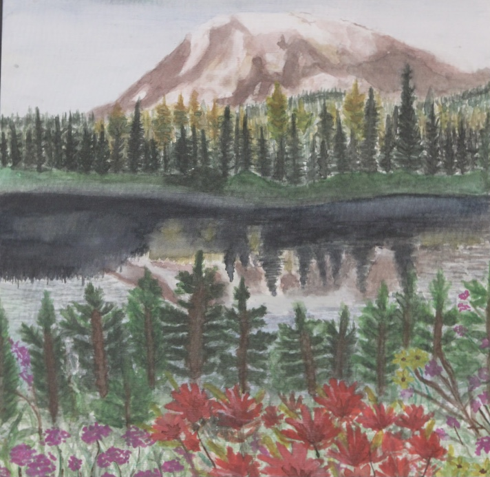 Mountain, lake landscape was drawn by Ava Hearty.