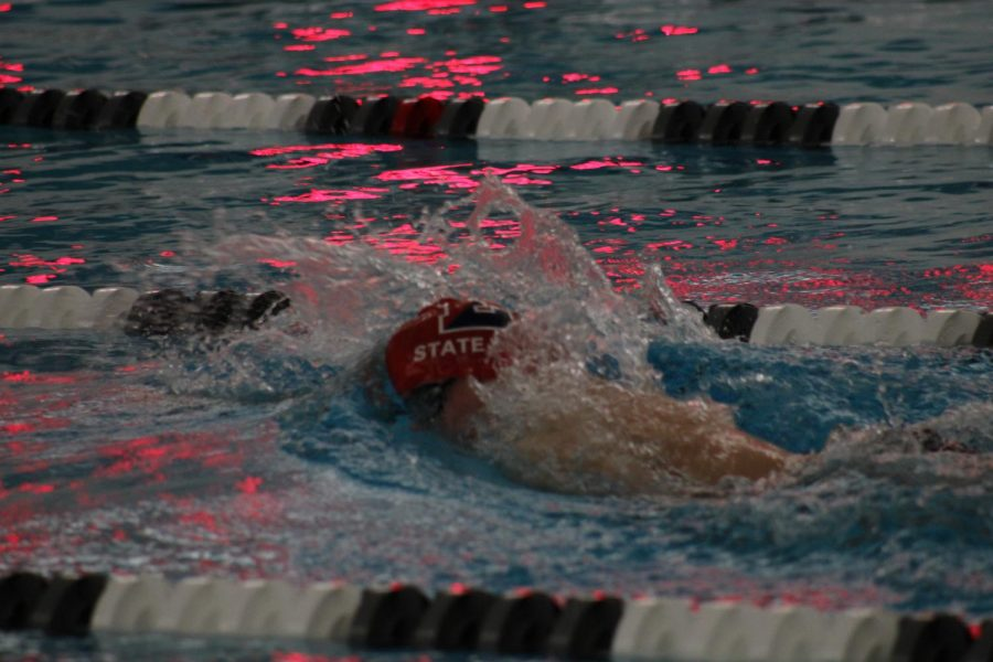 Jacob Horner, sophomore, swimming the freestyle.