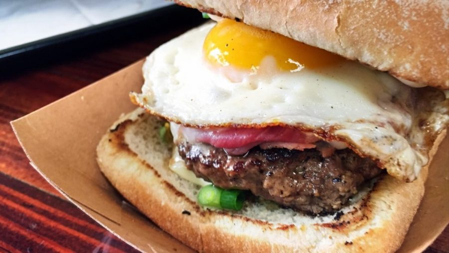 The famous Croque Garcon Burger at Block 16