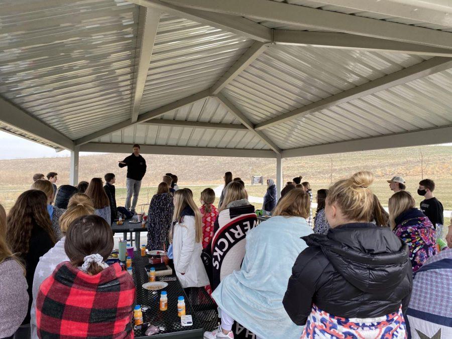 Revival Bible Study group gathered at Lake Flanagan.