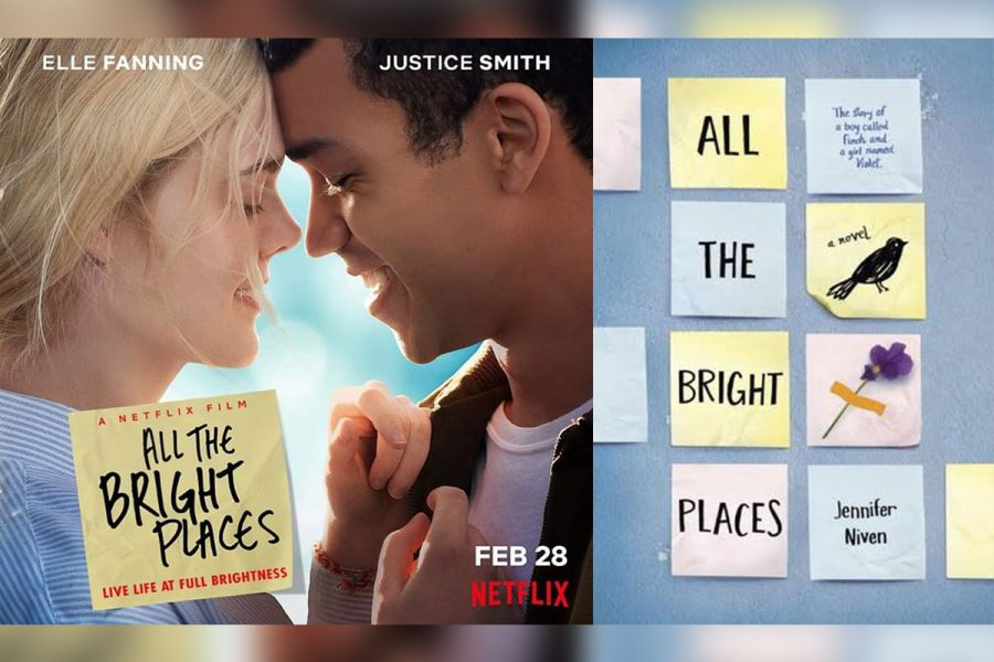 An image from the Netflix movie (left) and the book cover (right).