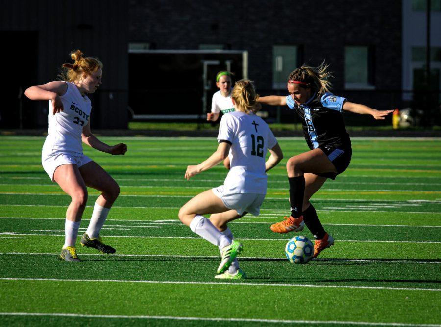 Kailey Marshall defending the ball