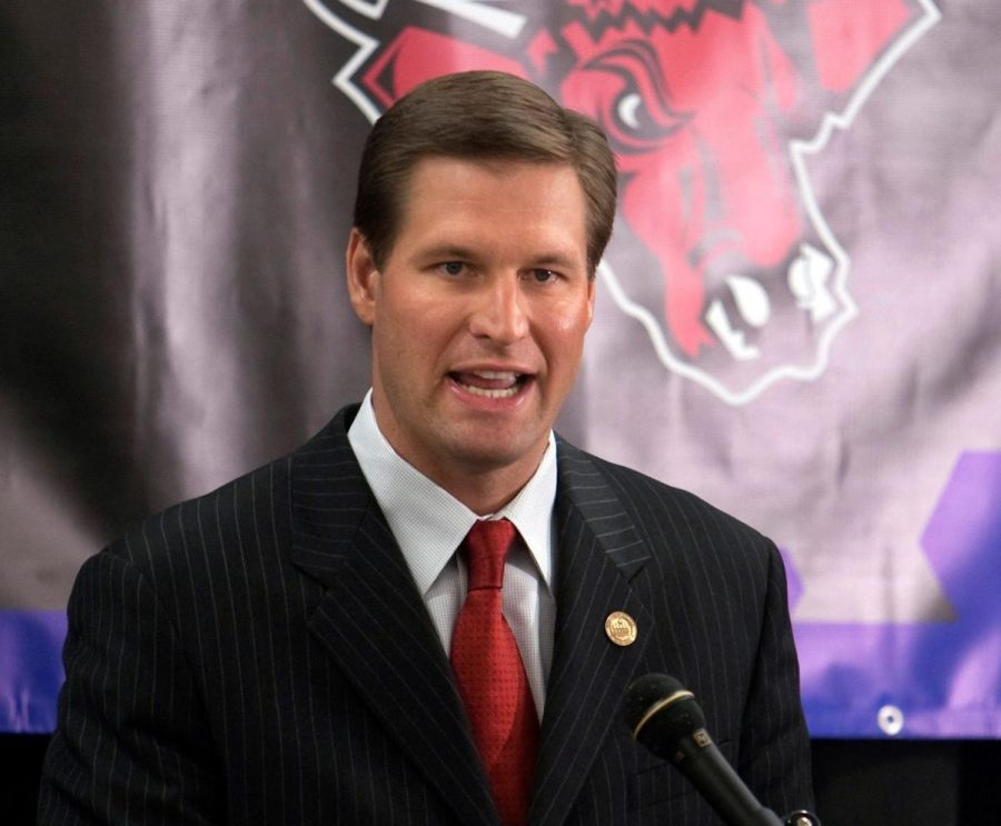 New Husker athletic director speaking at UNO. Photo courtesy: Lincoln Journal Star
