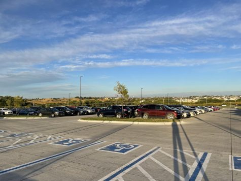 The Elkhorn North Parking lot in the fall of 2021.