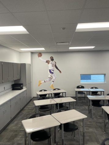 Coach King's fathead of LeBron James in his classroom.