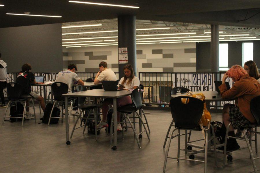 Students on the Senior Balcony utilize their Chromebooks for study hall.