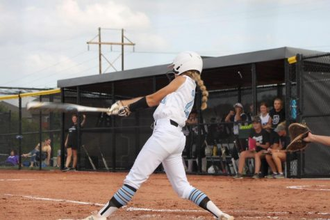 Halle Pribnow swings at a pitch