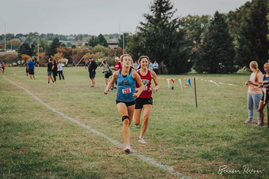 Sarah Spencer passing a Duchesne runner.