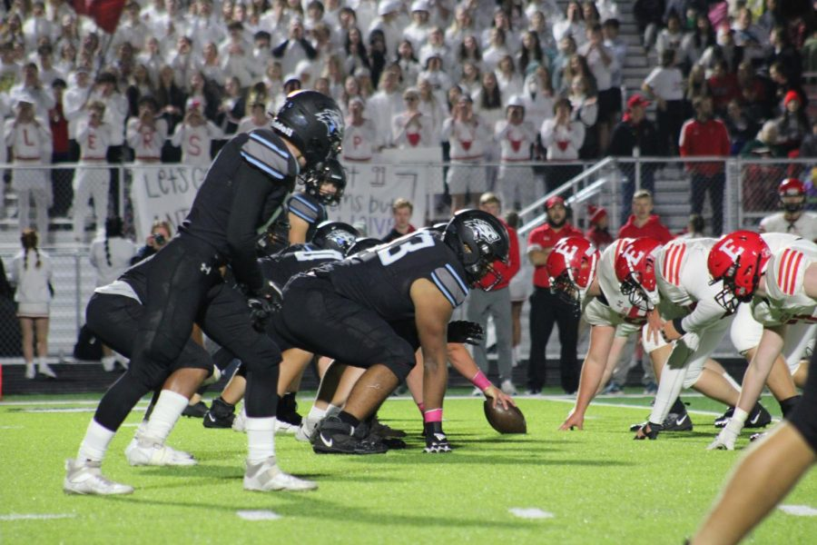 The Elkhorn North offensive line faces up against the Elkhorn defensive line