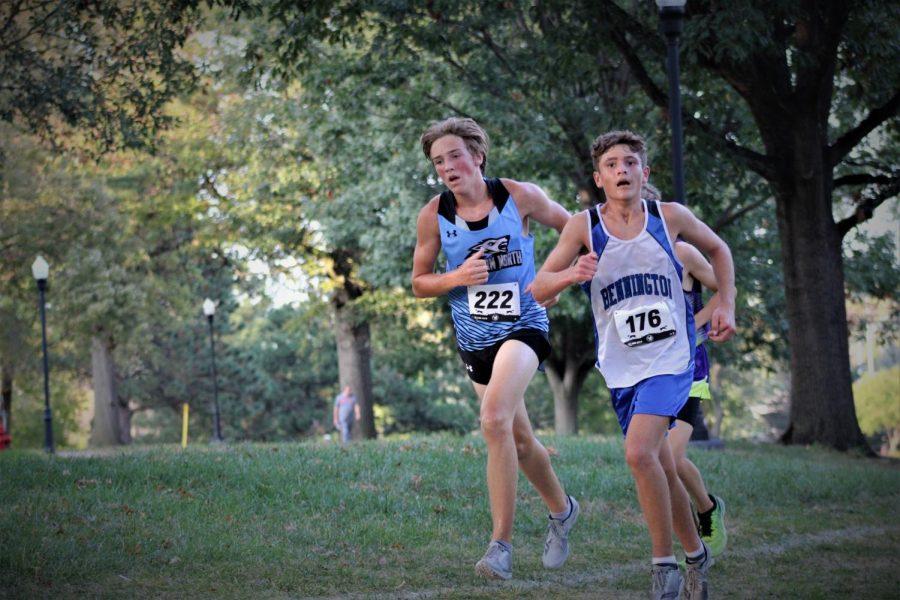 Owen Hess begins to pass Bennington in a foot race.